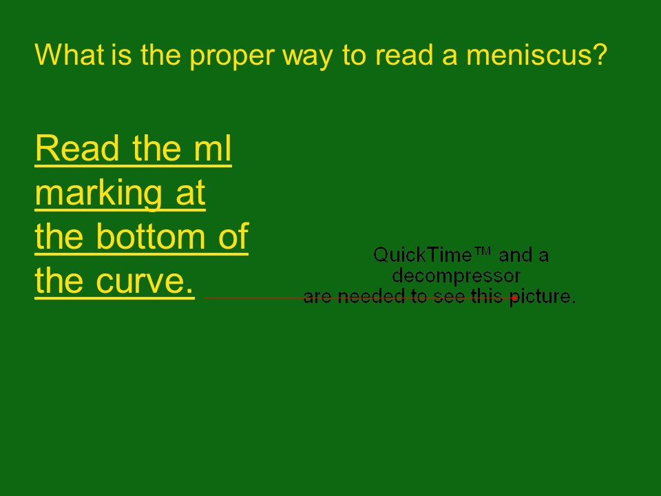 Read the ml marking at the bottom of the curve.