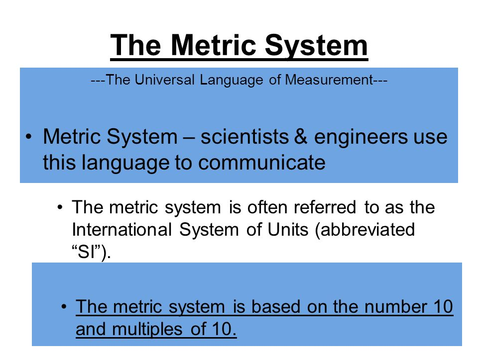 ---The Universal Language of Measurement---