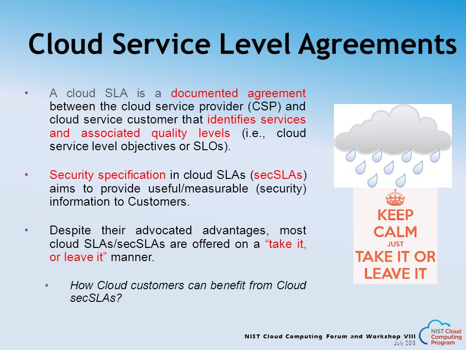 cloud computing service level agreement and governance Availability in cloud computing environments  security governance, risk management and  organizations often cite the need for flexible service level agreements.