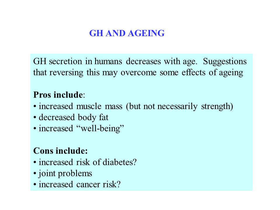 GH AND AGEING GH secretion in humans decreases with age. Suggestions that reversing this may overcome some effects of ageing.