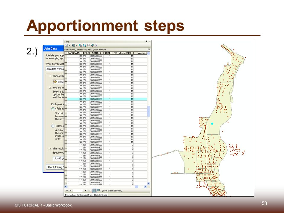 Gis tutorial 1 lecture 9 spatial analysis ppt video online download 53 apportionment steps 2 gis tutorial 1 basic workbook 53 sciox Gallery