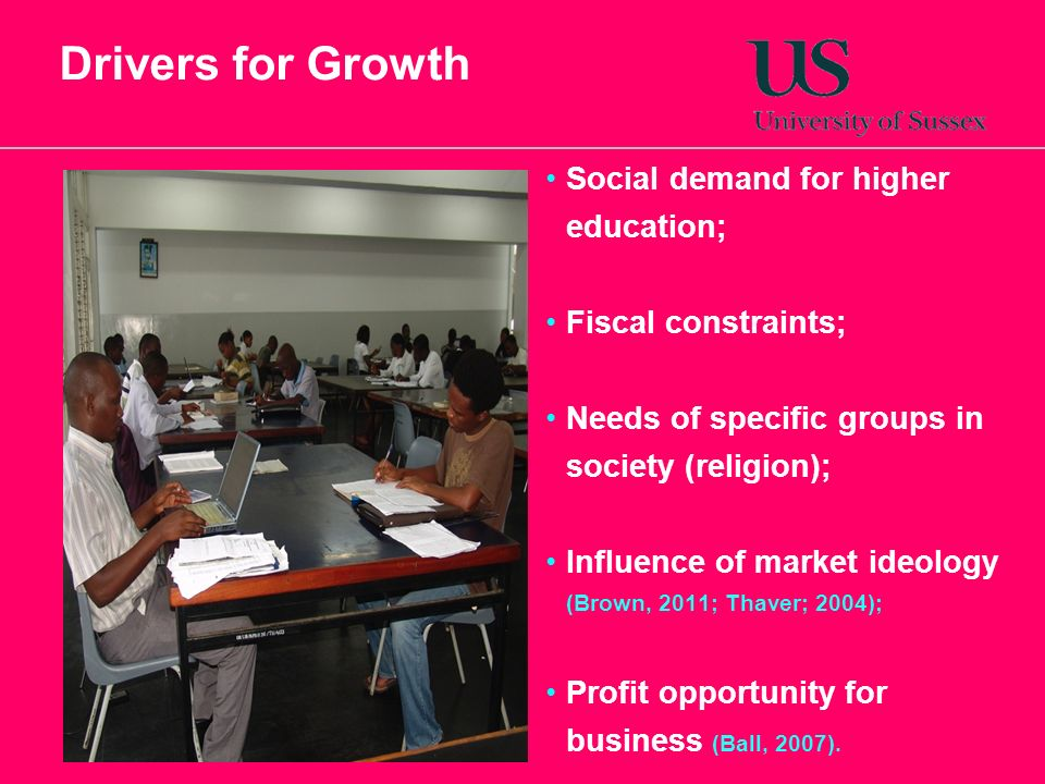 Drivers for Growth Social demand for higher education;