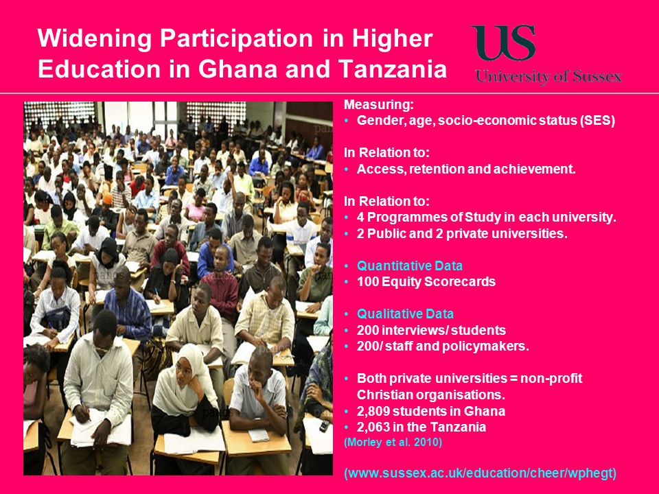 Widening Participation in Higher Education in Ghana and Tanzania