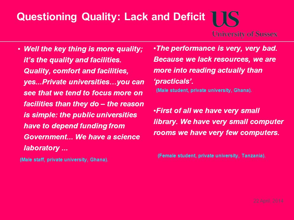 Questioning Quality: Lack and Deficit