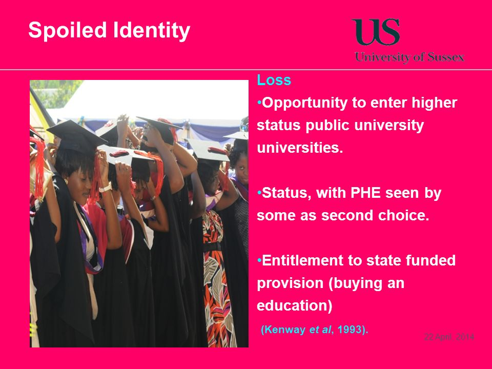 Spoiled Identity Loss. Opportunity to enter higher status public university universities. Status, with PHE seen by some as second choice.