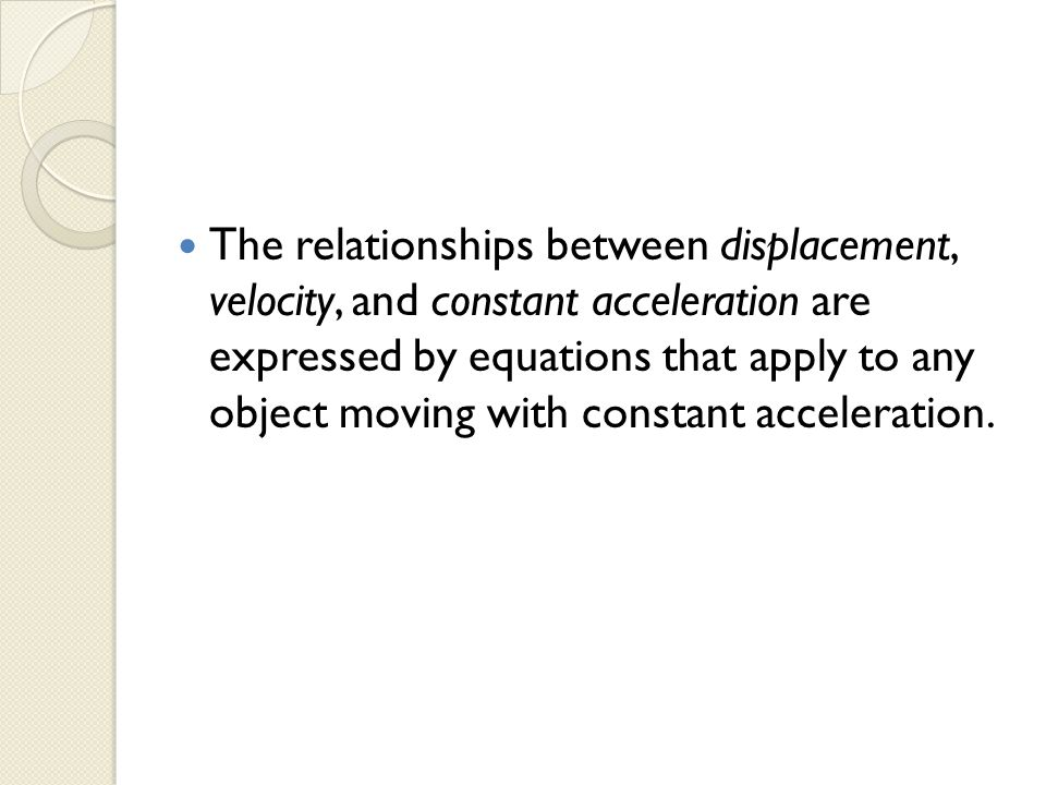 displacement and acceleration relationship
