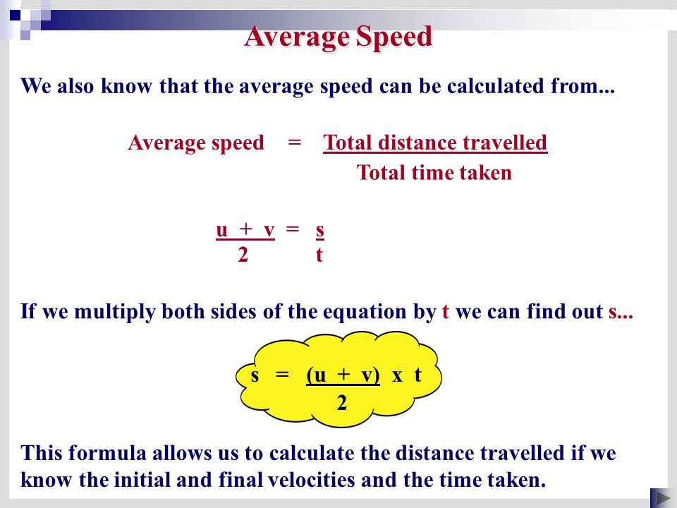 speed time distance formula pdf
