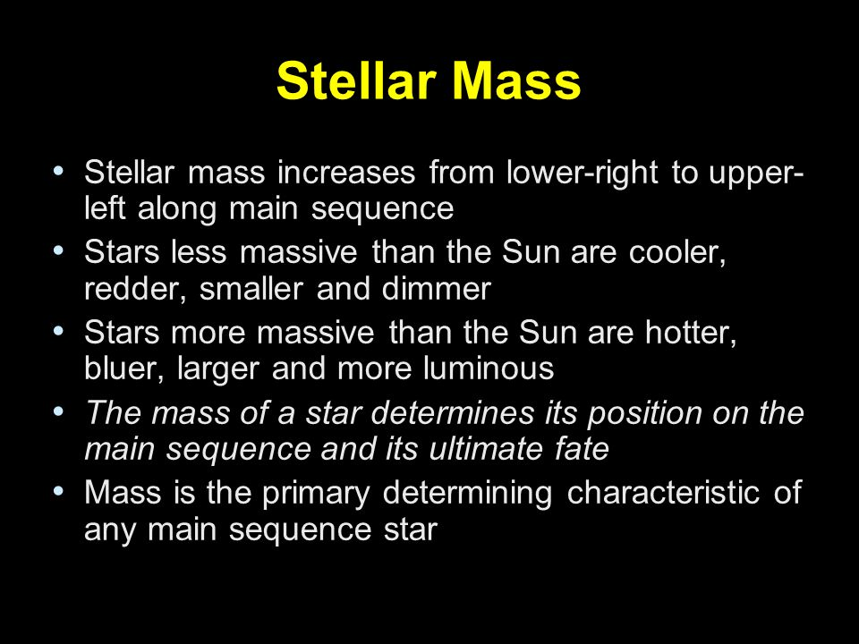 Stellar Mass Stellar mass increases from lower-right to upper-left along main sequence.