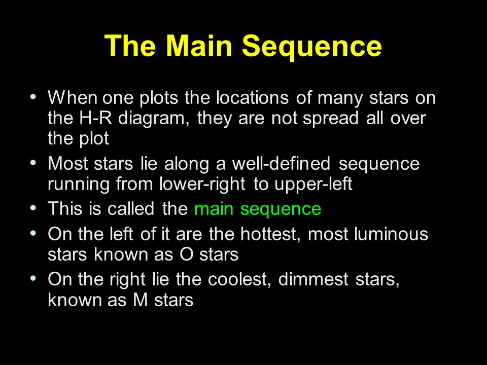 The Main Sequence When one plots the locations of many stars on the H-R diagram, they are not spread all over the plot.