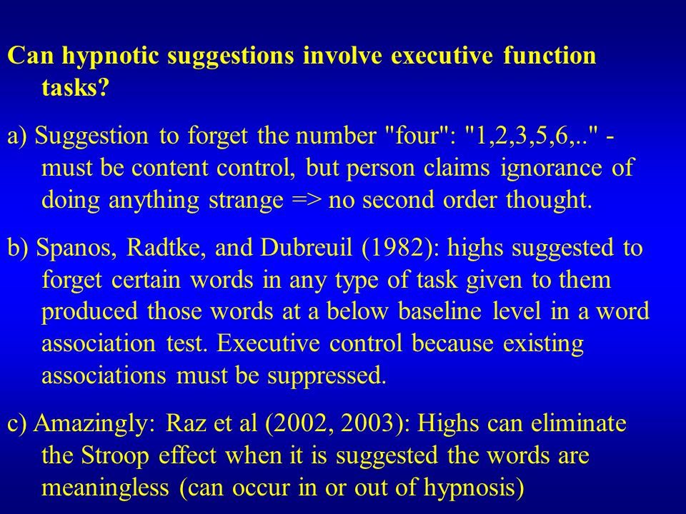 Can hypnotic suggestions involve executive function tasks