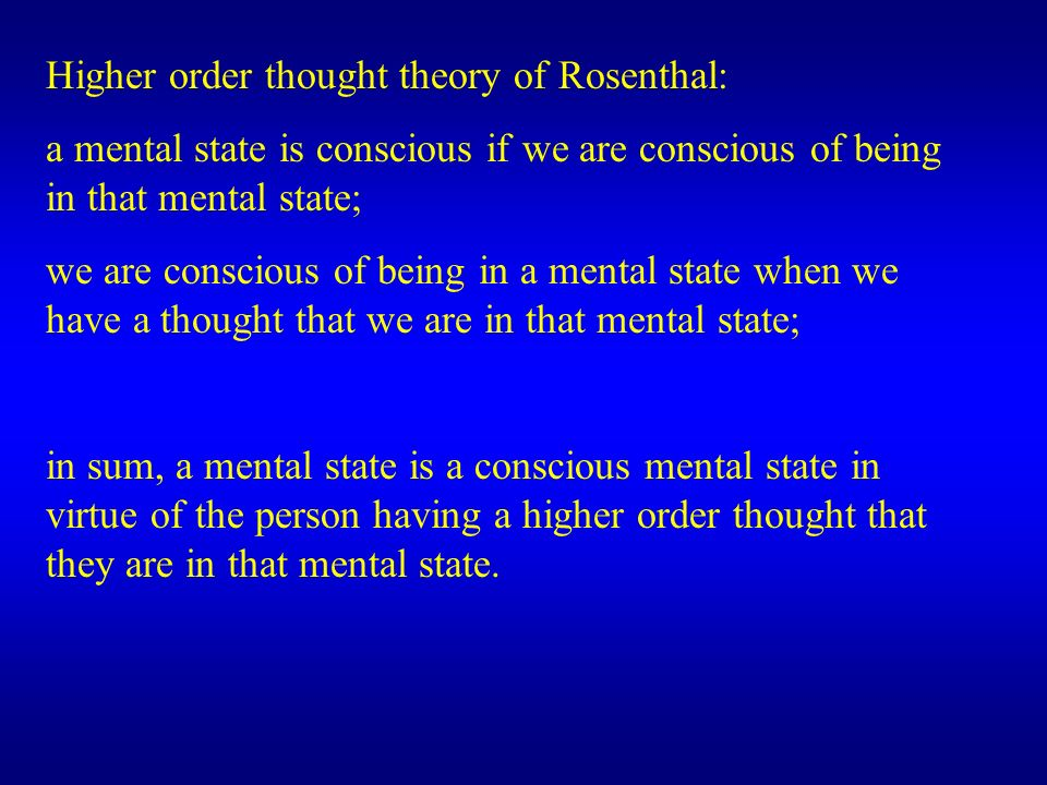 Higher order thought theory of Rosenthal: