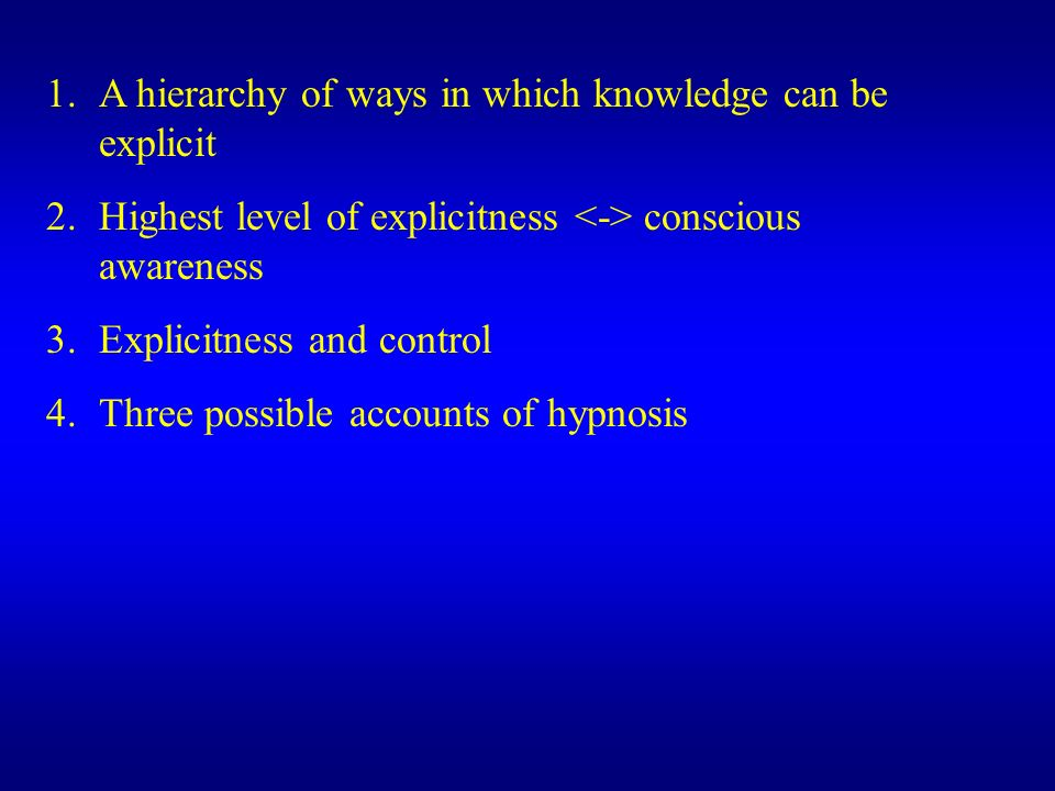 A hierarchy of ways in which knowledge can be explicit