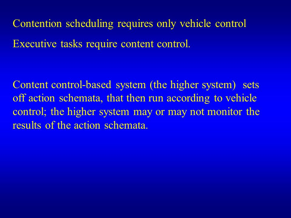 Contention scheduling requires only vehicle control
