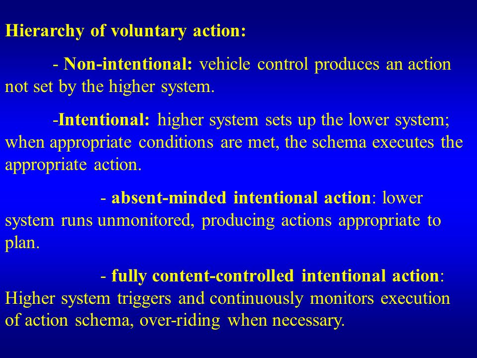 Hierarchy of voluntary action: