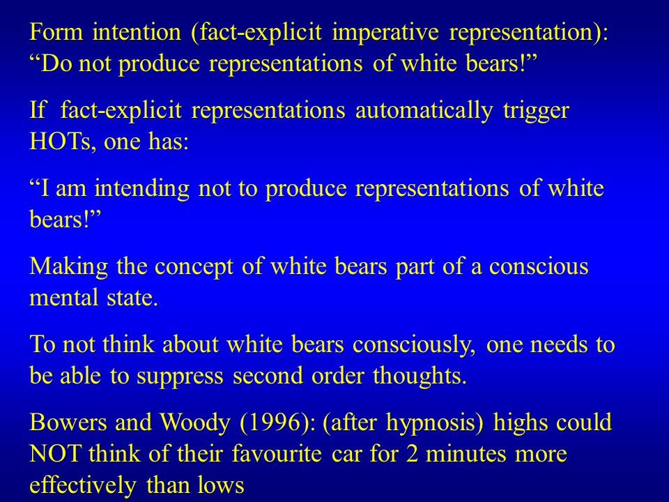 Form intention (fact-explicit imperative representation): Do not produce representations of white bears!