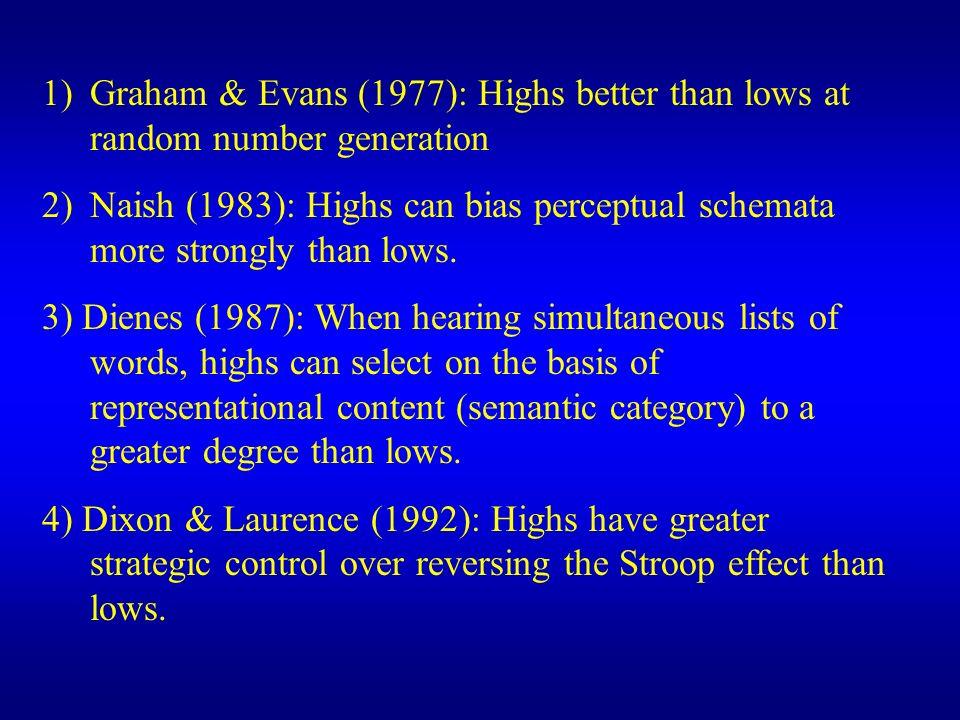 Graham & Evans (1977): Highs better than lows at random number generation