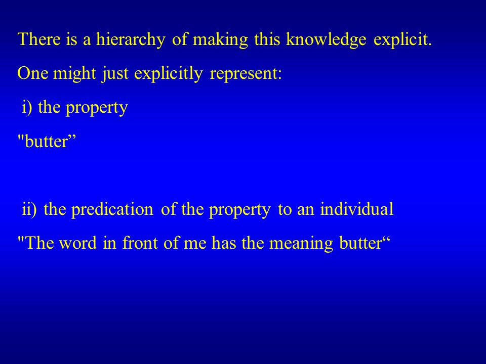 There is a hierarchy of making this knowledge explicit.