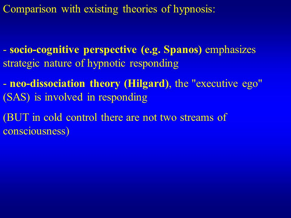 Comparison with existing theories of hypnosis: