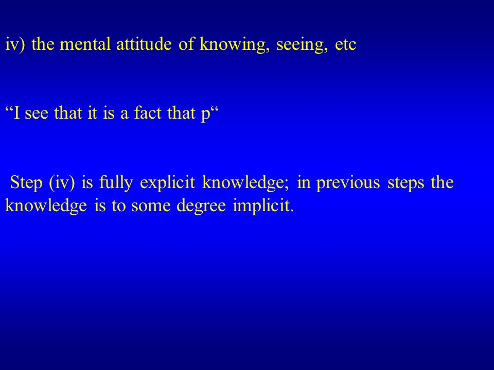 iv) the mental attitude of knowing, seeing, etc