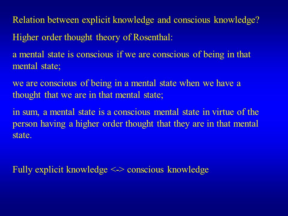 Relation between explicit knowledge and conscious knowledge