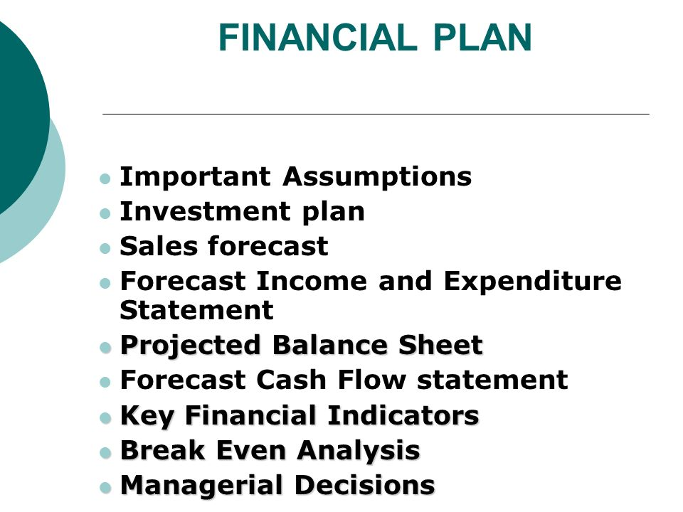 financial section of a business plan