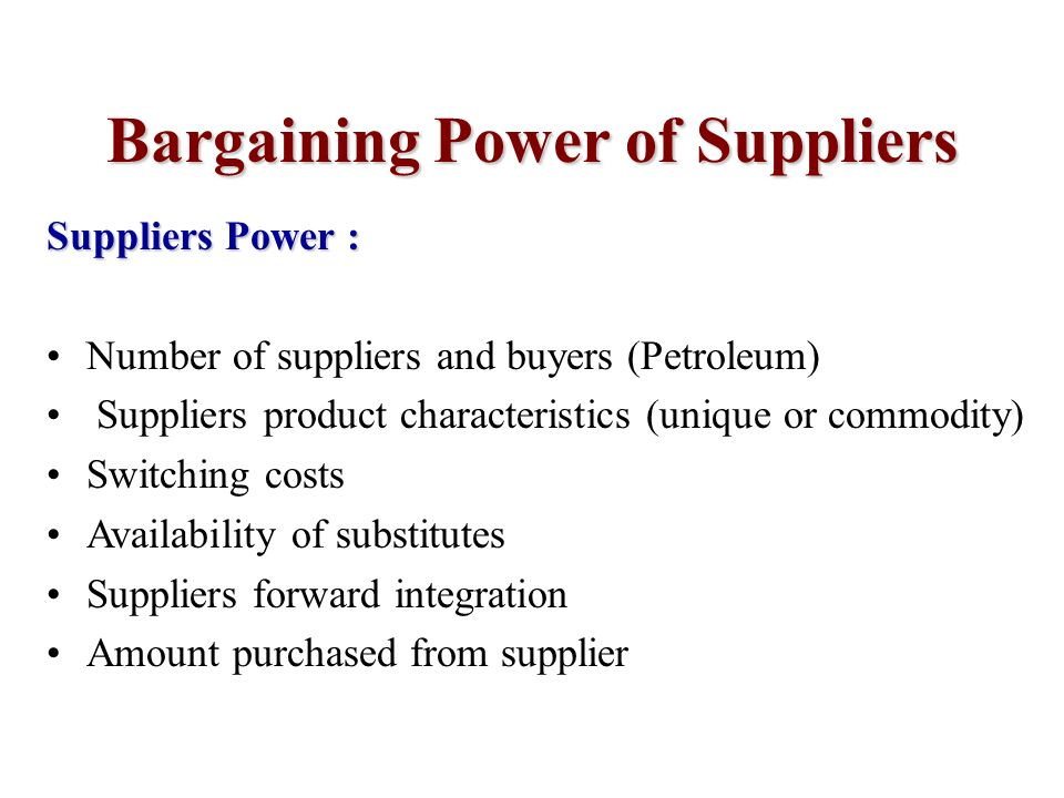 bargaining power of suppliers The bargaining power of buyers in the aerospace & defense industry 1462 words | 6 pages kelly mann ecn 2020-84250 competitive forces paper december 6, 2010 the bargaining power of buyers in the aerospace & defense industry the united states aerospace and defense industry is the largest of its type in the world.