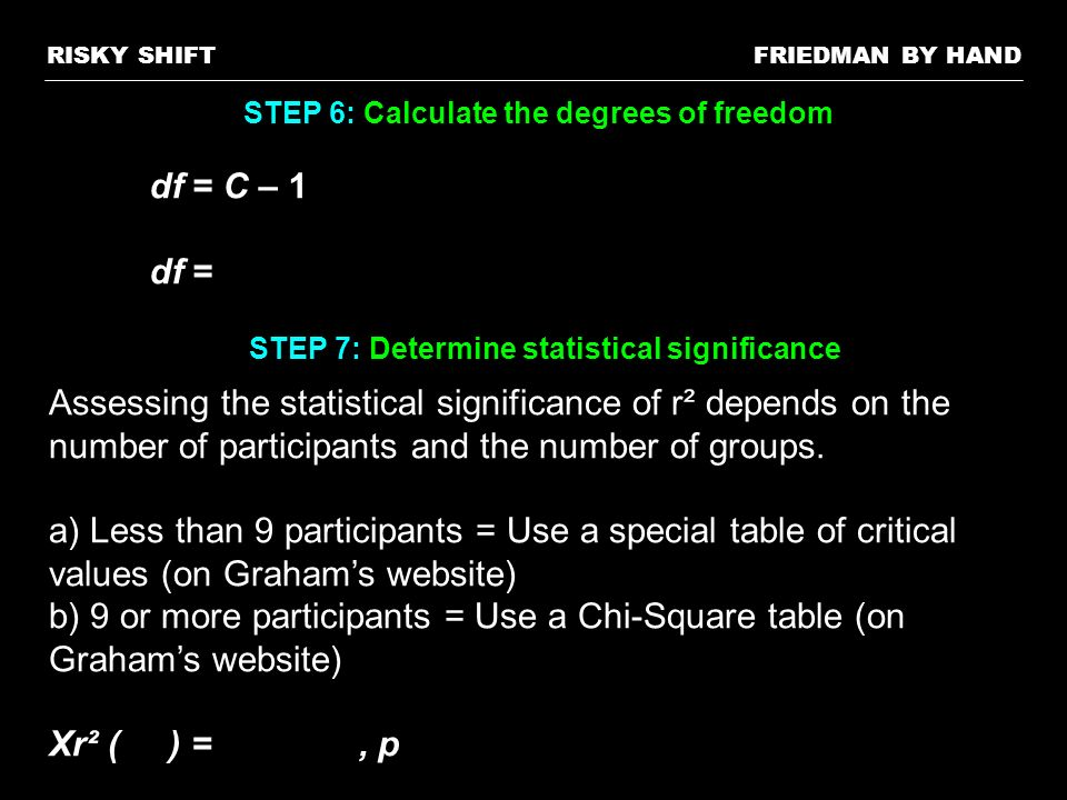 RISKY SHIFT FRIEDMAN BY HAND. STEP 6: Calculate the degrees of freedom. df = C – 1. df = STEP 7: Determine statistical significance.