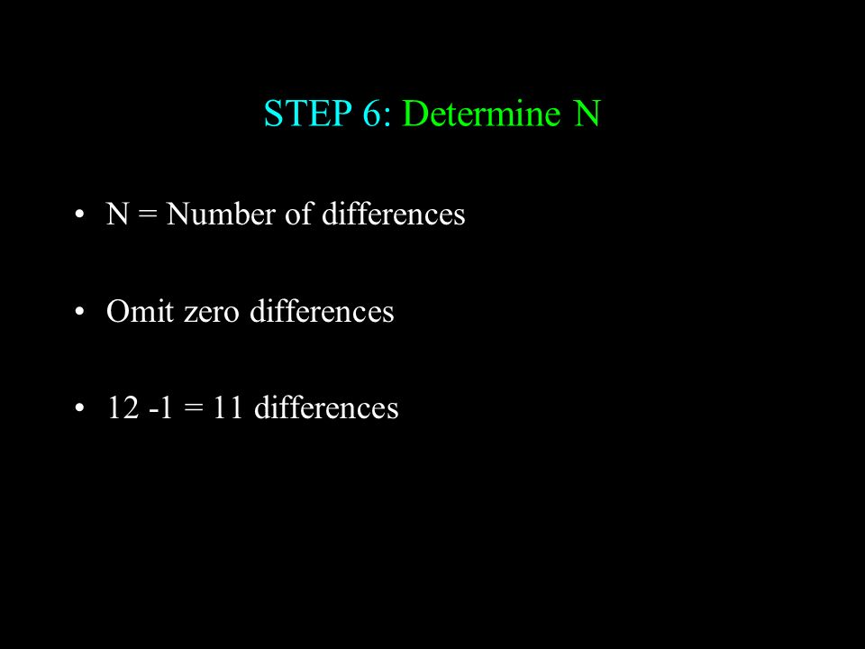 STEP 6: Determine N N = Number of differences Omit zero differences