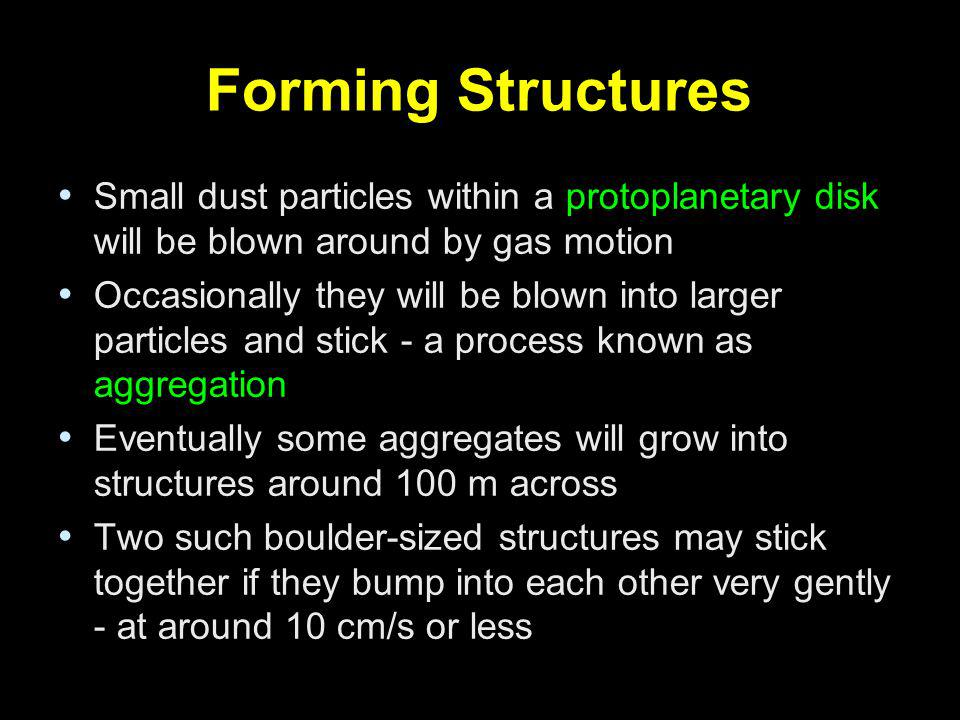 Forming Structures Small dust particles within a protoplanetary disk will be blown around by gas motion.
