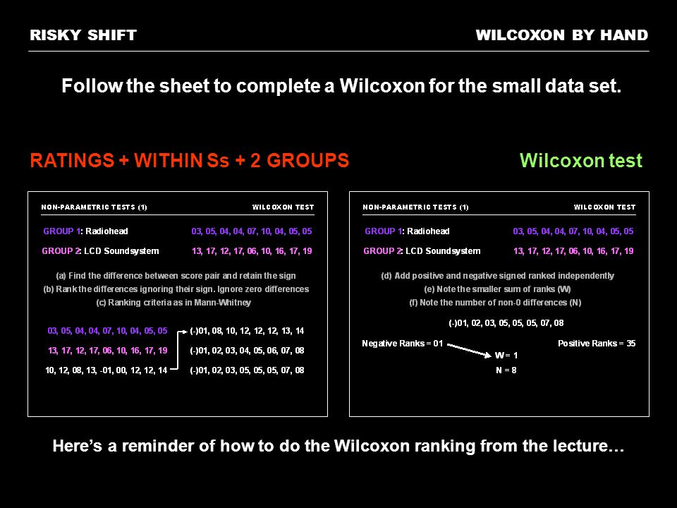 Follow the sheet to complete a Wilcoxon for the small data set.
