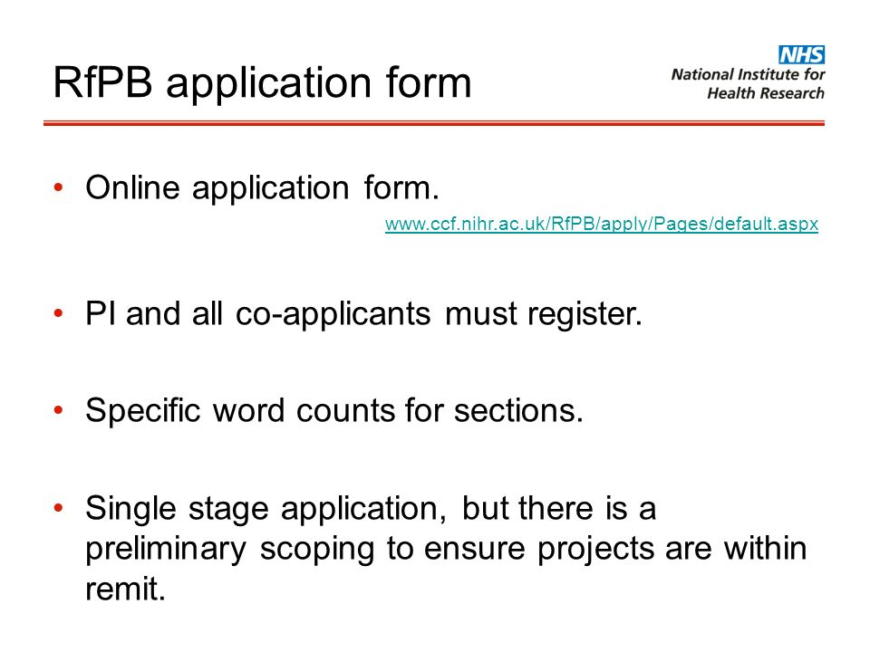 RfPB application form Online application form.
