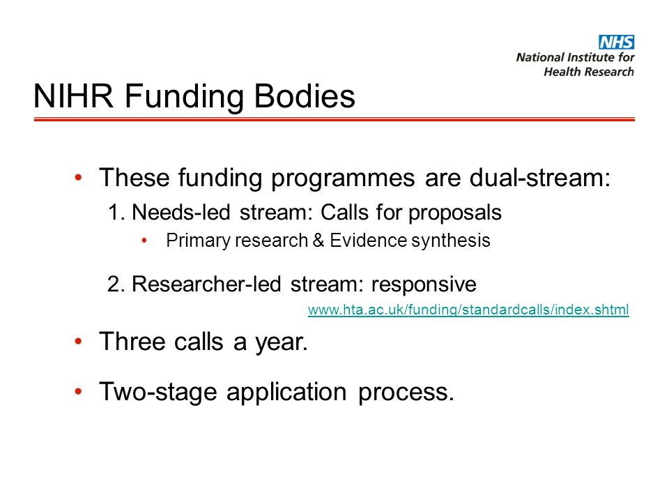 NIHR Funding Bodies These funding programmes are dual-stream: