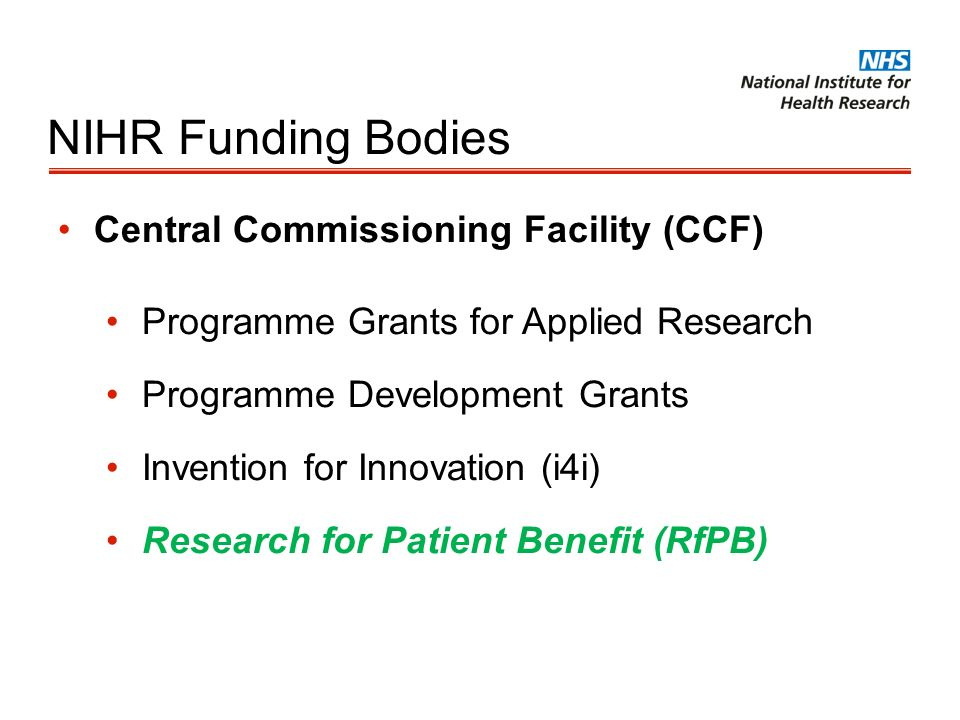 NIHR Funding Bodies Central Commissioning Facility (CCF)