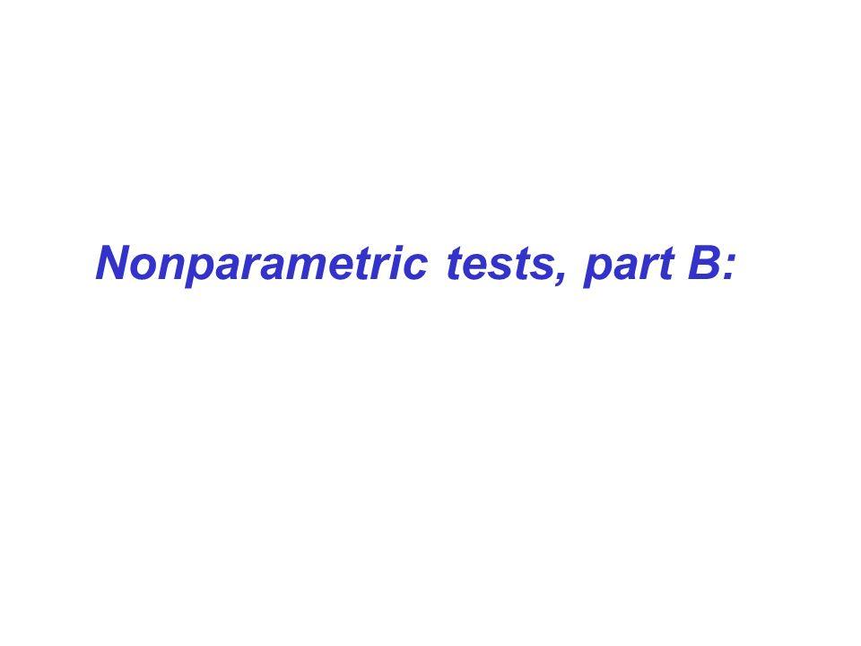 Nonparametric tests, part B:
