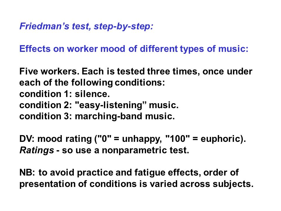 Friedman's test, step-by-step: