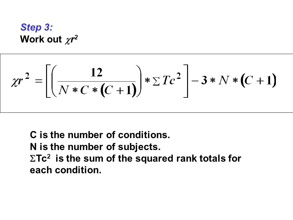 Step 3: Work out r2. C is the number of conditions.
