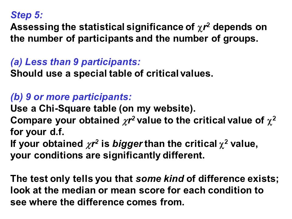 Step 5: Assessing the statistical significance of r2 depends on the number of participants and the number of groups.