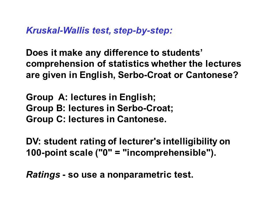 Kruskal-Wallis test, step-by-step: