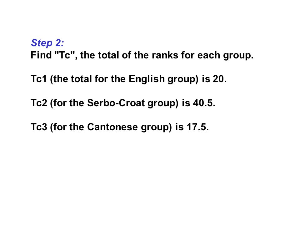 Step 2: Find Tc , the total of the ranks for each group. Tc1 (the total for the English group) is 20.