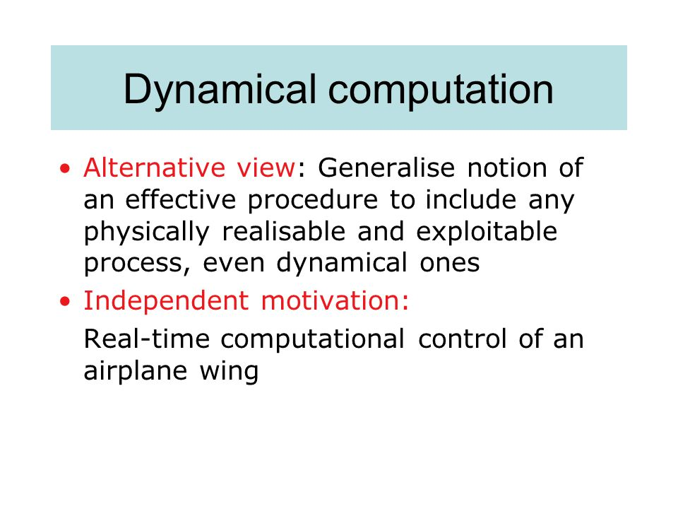 Dynamical computation