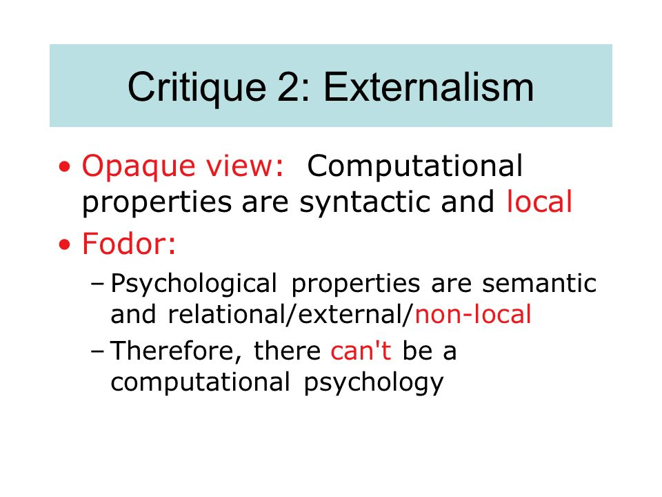 Critique 2: Externalism