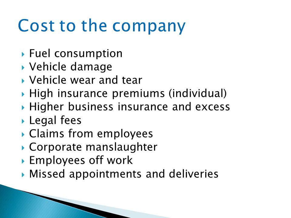 Cost to the company Fuel consumption Vehicle damage