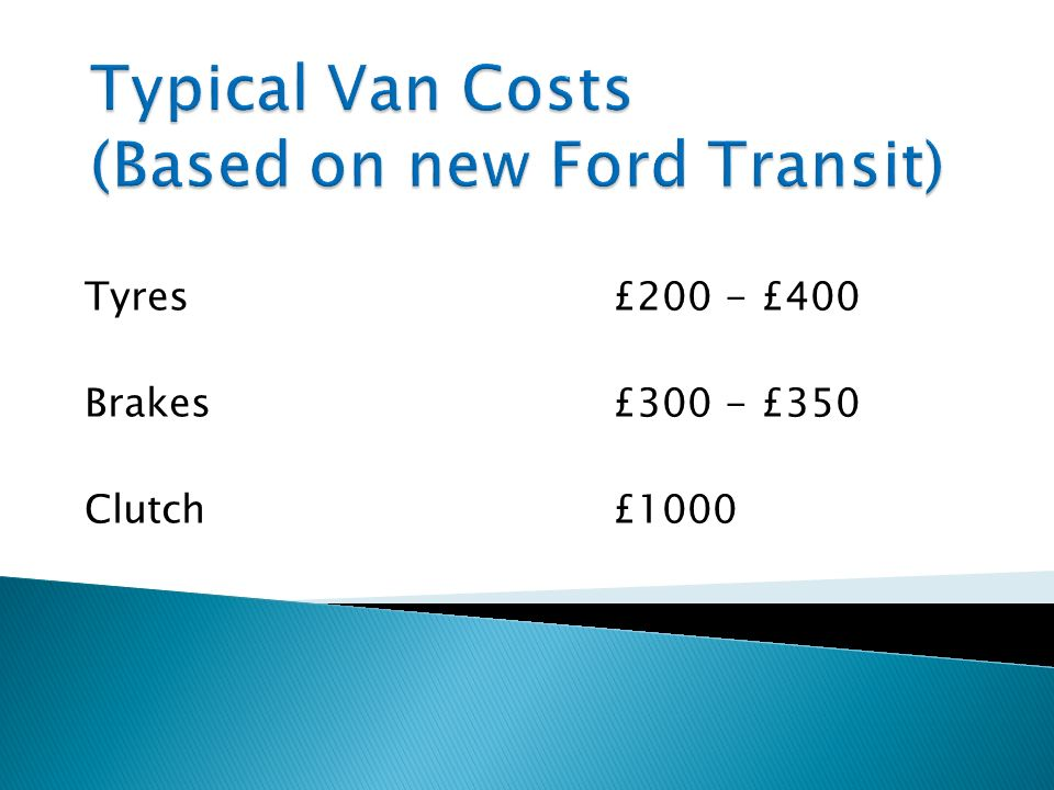 Typical Van Costs (Based on new Ford Transit)