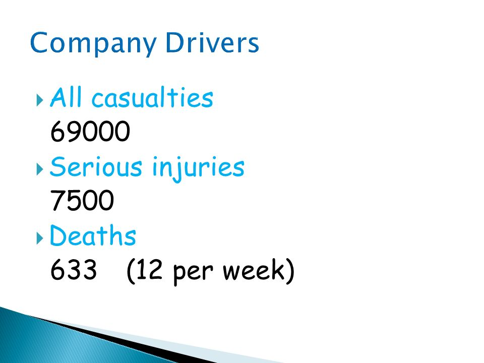 Company Drivers All casualties 69000 Serious injuries 7500 Deaths