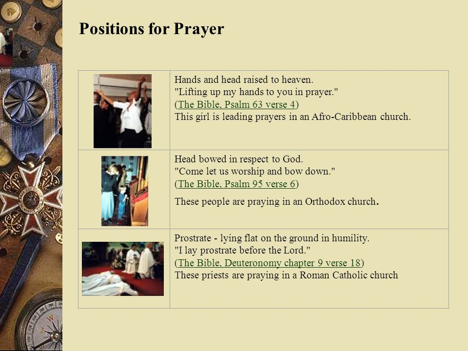 Positions for PrayerHands and head raised to heaven. Lifting up my hands to you in prayer. (The Bible, Psalm 63 verse 4)