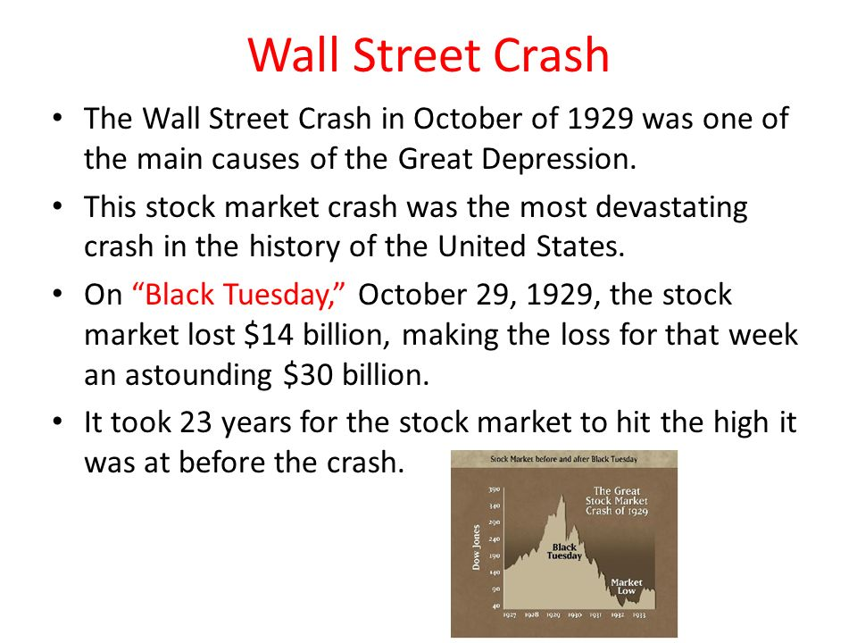 An analysis of the cause of the stock market crash of 1929 and the great depression