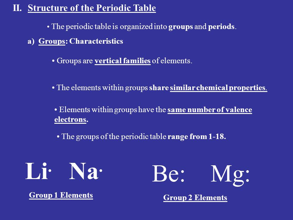 describe the periodic nature and properties of elements The elements on the periodic table are arranged so that their atomic numbers increase in order from left to right there is a special name given to the horizontal rows on the periodic table they are called periods.