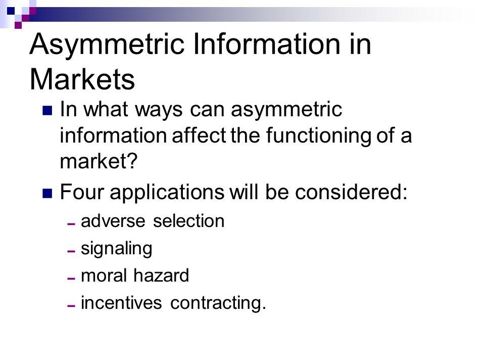 moral hazard asymmetric information and ipo Bank lending decisions, asymmetric information, adverse selection, and moral hazard.