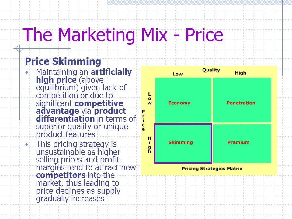 marketing mix pricing Marketing management : img: 1 2 details textbook: the influence of other marketing mix variables on price is rather high while setting the price of a product, all the other variables of the marketing mix.