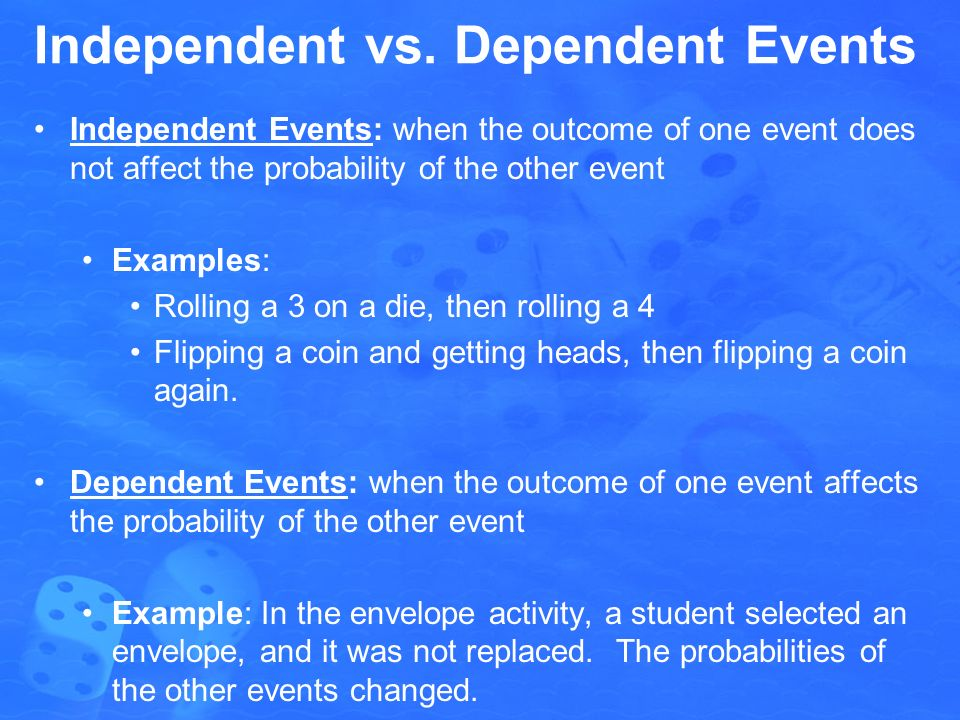 how to tell if an event is independent